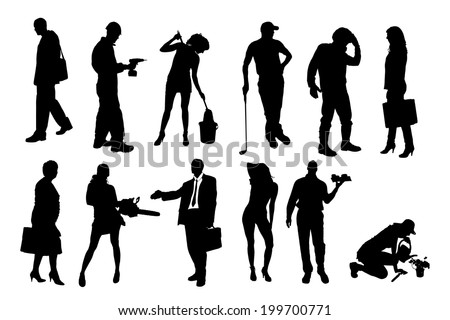 Vector silhouettes of different people on a white background. - stock vector