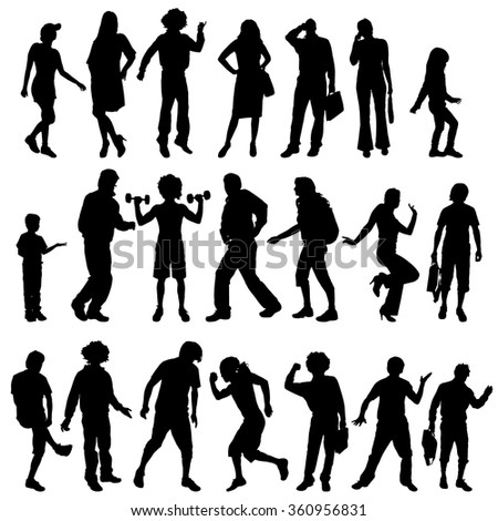 Vector silhouettes of different people on a white background.