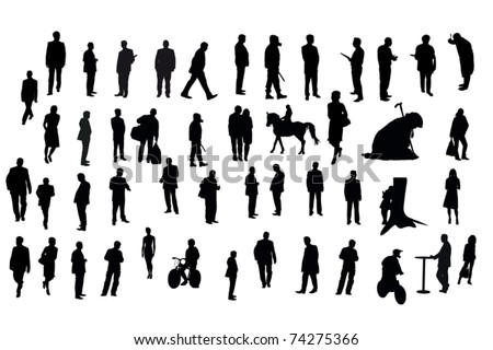 Vector silhouettes of different people under the white background - stock vector