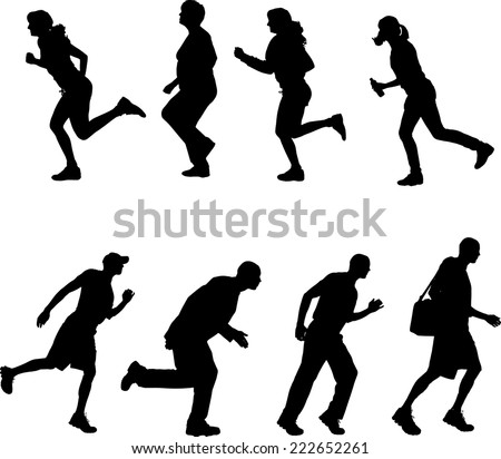 Vector silhouettes of different people who run on white background.