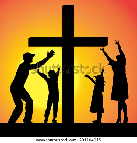 Vector silhouettes of family at the Cross at sunset. - stock vector