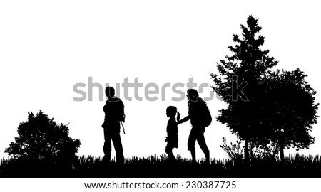 Vector silhouettes of family in nature on white background. - stock vector