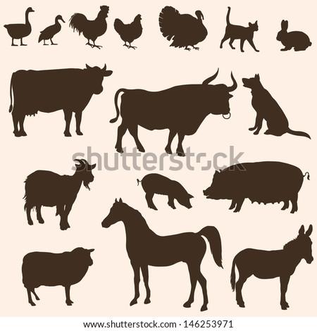 vector silhouettes  of farm animals - stock vector