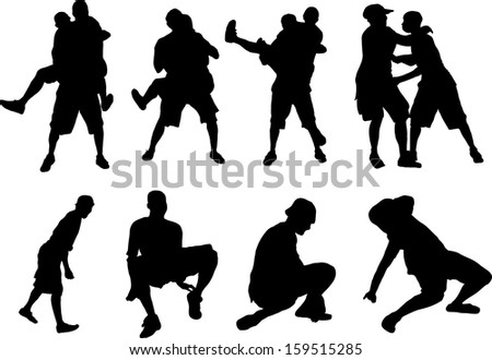 Vector silhouettes of fighting people
