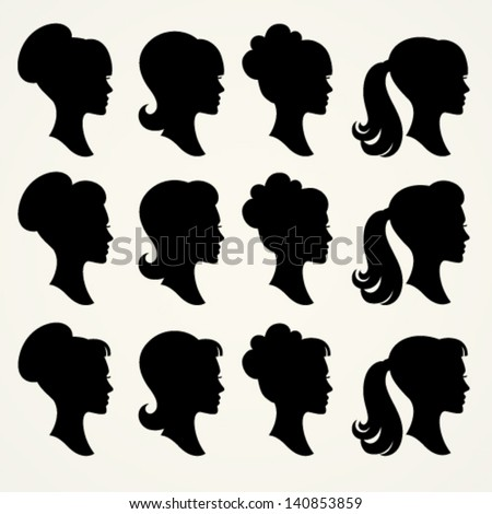 Vector silhouettes of girls - stock vector