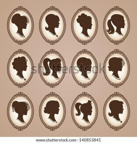 Vector silhouettes of girls with vintage frames - stock vector