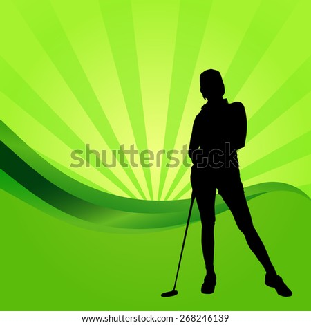 Vector silhouettes of golf on a green background.