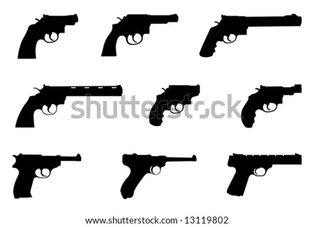 Vector silhouettes of handguns. - stock vector