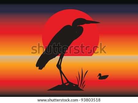 Vector silhouettes of heron and duck against an abstract background - stock vector