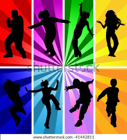 Vector silhouettes of jumping and dancing kids in retro style. - stock vector