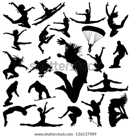 Vector silhouettes of jumping people - stock vector