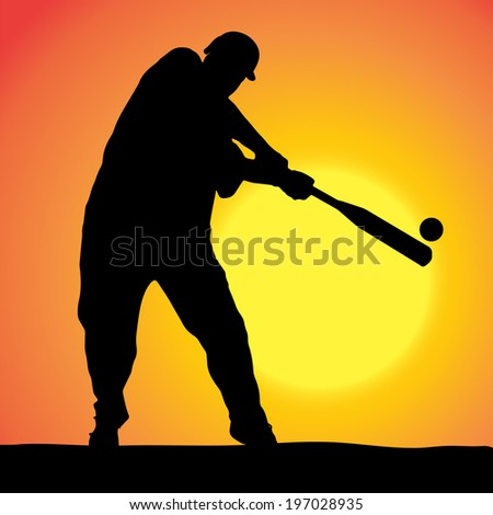 Vector silhouettes of man who play baseball at sunset.
