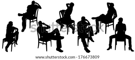 Vector silhouettes of men and women who sit on the chair.