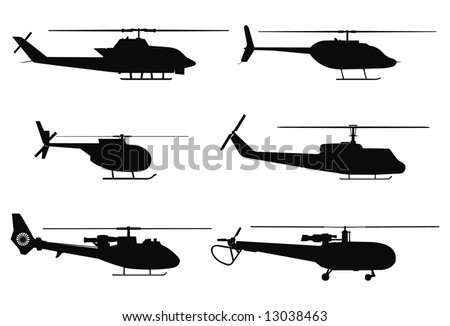 Vector silhouettes of military helicopters. - stock vector
