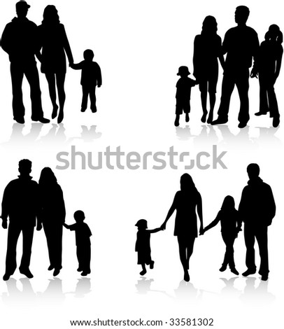 Vector silhouettes of parents with children - stock vector