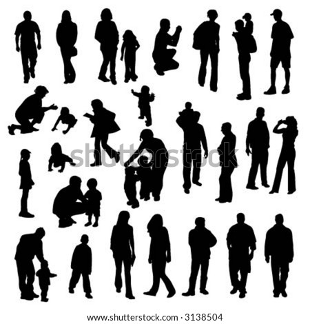 vector silhouettes of people - stock vector