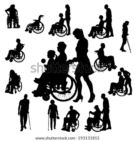 Vector silhouettes of people in a wheelchair on a white background.  - stock vector