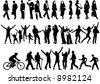 Vector silhouettes of people in all kinds of activities - stock vector