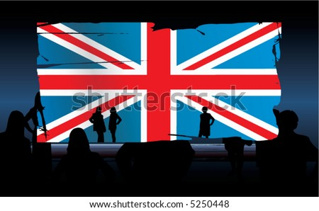 vector silhouettes of people in front of an united kingdom flag