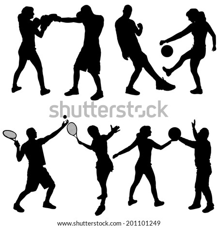 Vector silhouettes of people in sports on a white background. - stock vector