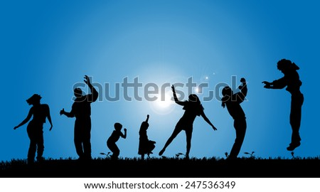 Vector silhouettes of people in the countryside.