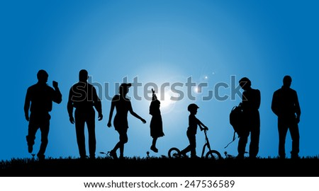 Vector silhouettes of people in the countryside. - stock vector