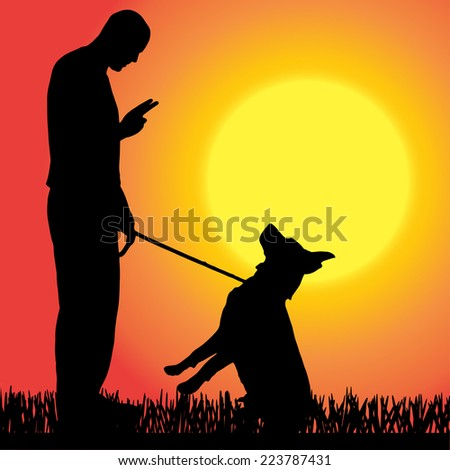 Vector silhouettes of people with dog at sunset.