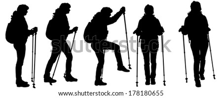 Vector silhouettes of people with trekking stick on a white background.  - stock vector