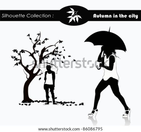 Vector silhouettes of people with umbrellas and autumn leaves - stock vector
