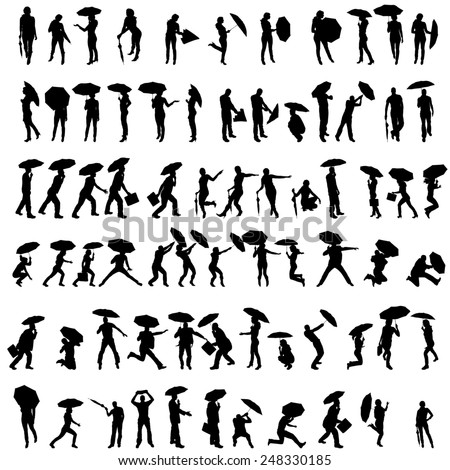 Vector silhouettes of people with umbrellas on white background.