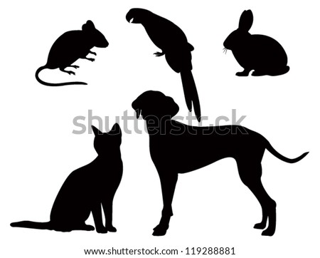 vector silhouettes of pets - stock vector