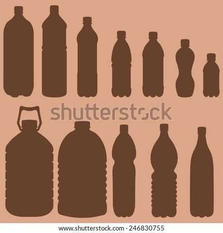 Vector Silhouettes of Plastic Bottles - stock vector