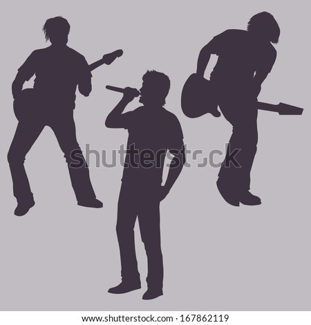 vector silhouettes of rock band: vocalist and two guitarists - stock vector