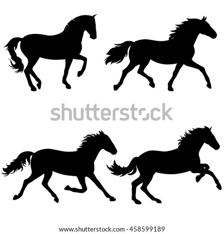 Vector silhouettes of running horses, isolated black outlines