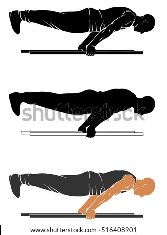 Vector silhouettes of street workout - plank push up.
