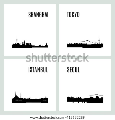 Vector silhouettes of the worlds cities skylines. Set of black and white modern typographic design. Landmarks and architecture. Tokyo Japan, Istanbul Turkey, Seoul South Korea, Shanghai China - stock vector