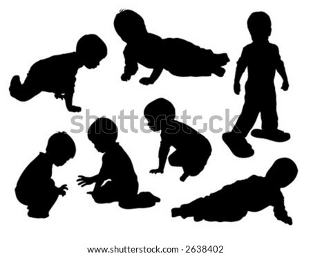 Vector silhouettes of two year old boy.