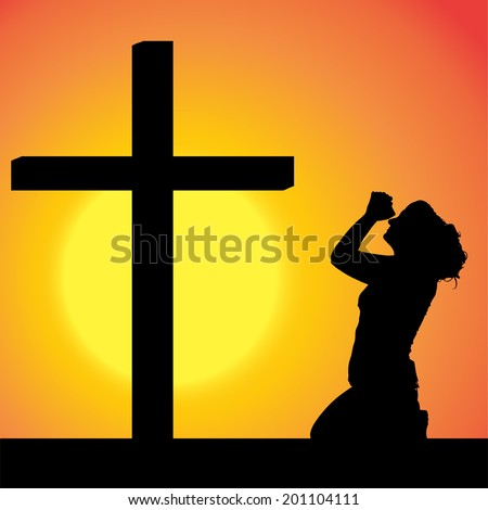Vector silhouettes of woman at the Cross at sunset.
