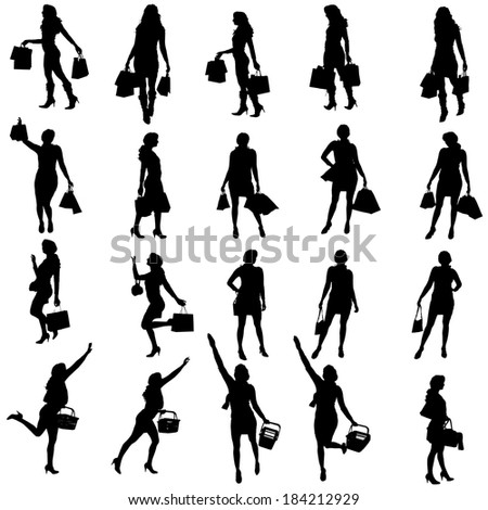 Vector silhouettes of woman on a white background.