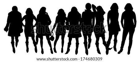 Vector silhouettes of women in various poses. - stock vector