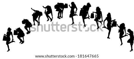 Vector silhouettes of women in various poses on a white background.