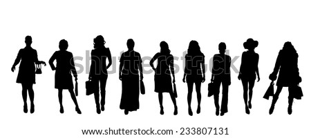 Vector silhouettes of women on a white background. - stock vector