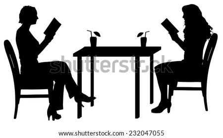 Vector silhouettes of women sitting at the table. - stock vector