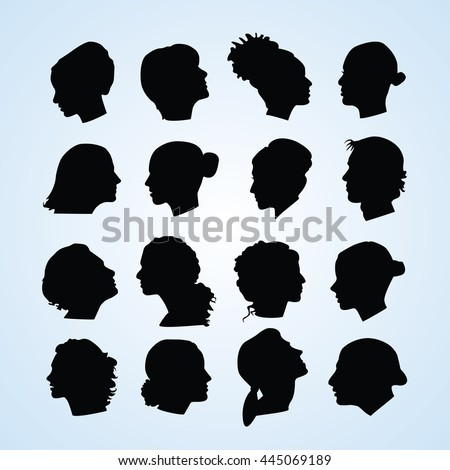 Vector silhouettes of womens head, faces in profile, Isolated on white background