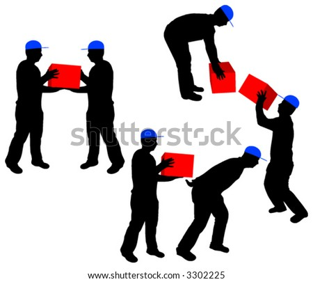 Vector silhouettes of workers carrying a boxes (colors are free to change) - stock vector