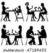 Vector silhouettes people in cafe - stock vector
