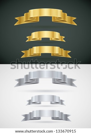 Vector silver and gold ribbon banner collection. - stock vector