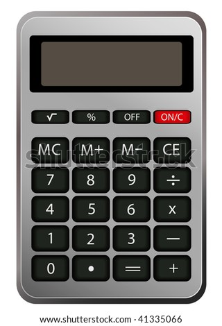 vector silver calculator isolated on white