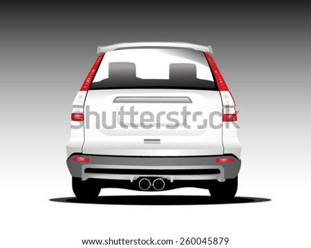 vector silver car - back view  - stock vector