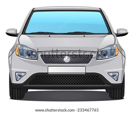 Vector silver Car - Front view - stock vector